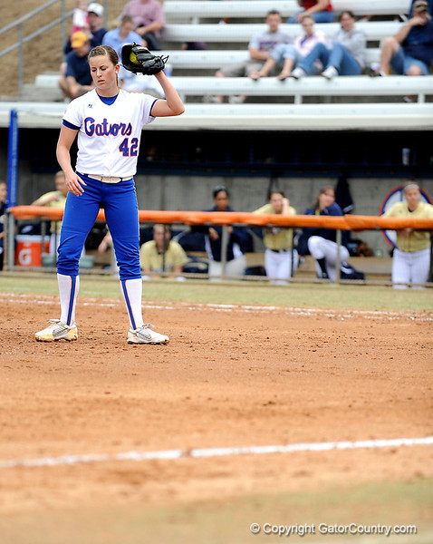 (Casey Brooke Lawson / Gator Country) Stacey Nelson pitches during University of Florida's game against Georgia Tech. The Gators defeated the Yellow jackets in six innings, 11 to 1, on Sunday, February 15, 2009 during the Lipton Softball Invitational championship at Katie Seashole Pressly Stadium.