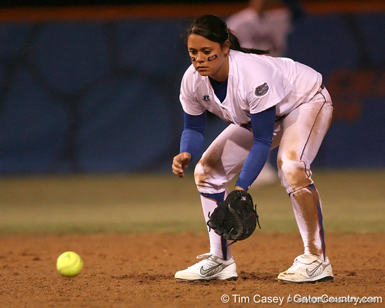 photo by Tim Casey<br /> <br /> Florida sophomore Aja Paculba warms up before the fourth inning during the Gators' 3-0 win against the Baylor Bears on Friday, February 6, 2009 at Katie Seashole Pressly Softball Stadium in Gainesville, Fla.