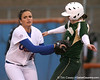 photo by Tim Casey<br /> <br /> Florida senior Ali Gardiner tags out Courtney Oberg to end the first inning during the Gators' 3-0 win against the Baylor Bears on Friday, February 6, 2009 at Katie Seashole Pressly Softball Stadium in Gainesville, Fla.