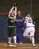 photo by Tim Casey<br /> <br /> Florida sophomore Tiffany DeFelice gets thrown out at first base in the sixth inning during the Gators' 3-0 win against the Baylor Bears on Friday, February 6, 2009 at Katie Seashole Pressly Softball Stadium in Gainesville, Fla.