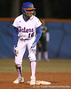 photo by Tim Casey<br /> <br /> Florida freshman Michelle Moultrie stands on second base during the sixth inning of the Gators' 3-0 win against the Baylor Bears on Friday, February 6, 2009 at Katie Seashole Pressly Softball Stadium in Gainesville, Fla.