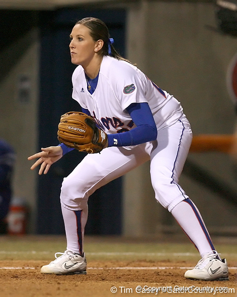 photo by Tim Casey<br /> <br /> Florida sophomore Corrie Brooks mans third base in the third inning during the Gators' 3-0 win against the Baylor Bears on Friday, February 6, 2009 at Katie Seashole Pressly Softball Stadium in Gainesville, Fla.