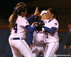 photo by Tim Casey<br /> <br /> Florida sophomore Aja Paculba celebrates an out with teammates in the third inning during the Gators' 3-0 win against the Baylor Bears on Friday, February 6, 2009 at Katie Seashole Pressly Softball Stadium in Gainesville, Fla.