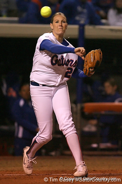 photo by Tim Casey<br /> <br /> Florida sophomore Corrie Brooks warms up before the fourth inning during the Gators' 3-0 win against the Baylor Bears on Friday, February 6, 2009 at Katie Seashole Pressly Softball Stadium in Gainesville, Fla.