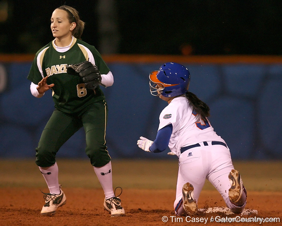 photo by Tim Casey<br /> <br /> Florida sophomore Aja Paculba steals second base in the third inning during the Gators' 3-0 win against the Baylor Bears on Friday, February 6, 2009 at Katie Seashole Pressly Softball Stadium in Gainesville, Fla.