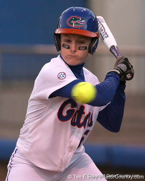 photo by Tim Casey<br /> <br /> Florida senior Kim Waleszonia bats in the first inning during the Gators' 3-0 win against the Baylor Bears on Friday, February 6, 2009 at Katie Seashole Pressly Softball Stadium in Gainesville, Fla.