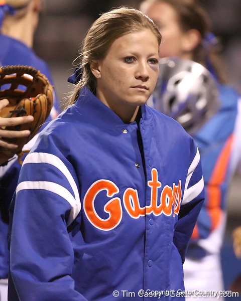 photo by Tim Casey<br /> <br /> Florida sophomore Ami Austin returns to the dugout in the sixth inning during the Gators' 3-0 win against the Baylor Bears on Friday, February 6, 2009 at Katie Seashole Pressly Softball Stadium in Gainesville, Fla.