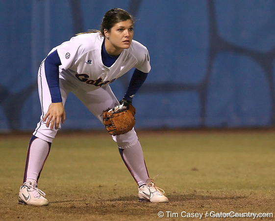 photo by Tim Casey<br /> <br /> Florida senior Brooke Johnson mans left field during the sixth inning of the Gators' 3-0 win against the Baylor Bears on Friday, February 6, 2009 at Katie Seashole Pressly Softball Stadium in Gainesville, Fla.