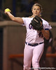 photo by Tim Casey<br /> <br /> Florida senior pitcher Stacey Nelson throws out a running at first base in the third inning during the Gators' 3-0 win against the Baylor Bears on Friday, February 6, 2009 at Katie Seashole Pressly Softball Stadium in Gainesville, Fla.