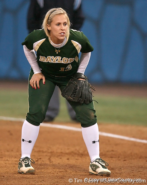photo by Tim Casey<br /> <br /> Whitney Colyer covers first base in the first inning during the Gators' 3-0 win against the Baylor Bears on Friday, February 6, 2009 at Katie Seashole Pressly Softball Stadium in Gainesville, Fla.