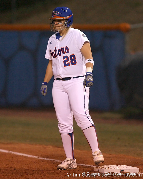 photo by Tim Casey<br /> <br /> Florida sophomore Tiffany DeFelice stands on first base in the second inning during the Gators' 3-0 win against the Baylor Bears on Friday, February 6, 2009 at Katie Seashole Pressly Softball Stadium in Gainesville, Fla.