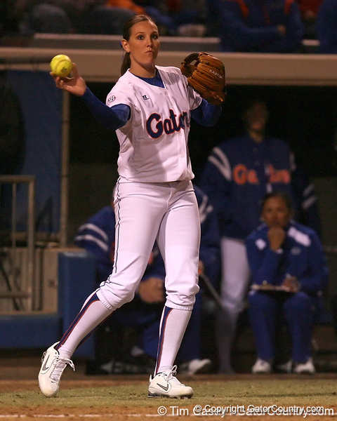 photo by Tim Casey<br /> <br /> Florida sophomore Corrie Brooks makes a throw in the third inning during the Gators' 3-0 win against the Baylor Bears on Friday, February 6, 2009 at Katie Seashole Pressly Softball Stadium in Gainesville, Fla.
