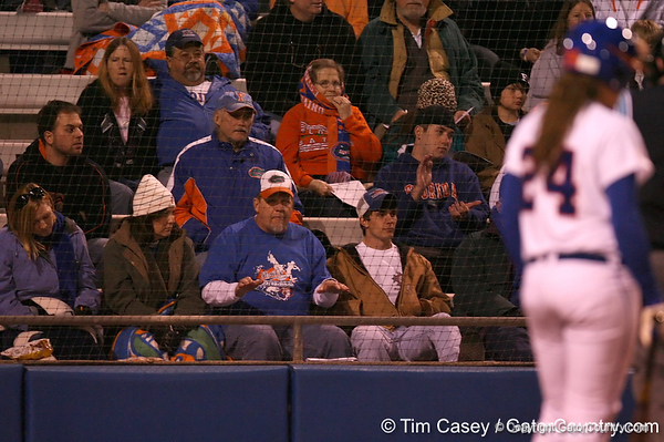 photo by Tim Casey<br /> <br /> Florida fans cheer during the third inning of the third inning of the Gators' 3-0 win against the Baylor Bears on Friday, February 6, 2009 at Katie Seashole Pressly Softball Stadium in Gainesville, Fla.