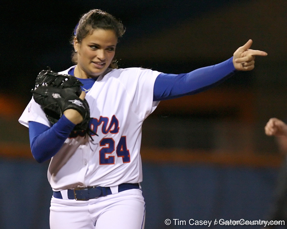 photo by Tim Casey<br /> <br /> Florida senior Ali Gardiner points to a teammate in the third inning during the Gators' 3-0 win against the Baylor Bears on Friday, February 6, 2009 at Katie Seashole Pressly Softball Stadium in Gainesville, Fla.