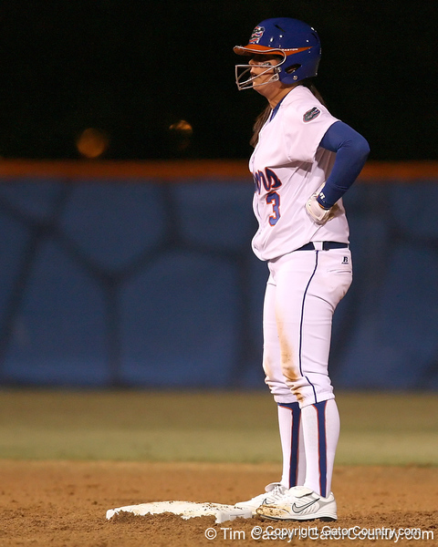 photo by Tim Casey<br /> <br /> Florida sophomore Aja Paculba recovers after stealing second base in the third inning during the Gators' 3-0 win against the Baylor Bears on Friday, February 6, 2009 at Katie Seashole Pressly Softball Stadium in Gainesville, Fla.