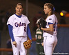 photo by Tim Casey<br /> <br /> Florida sophomore Corrie Brooks talks with Stacey Nelson during the fourth inning of the Gators' 3-0 win against the Baylor Bears on Friday, February 6, 2009 at Katie Seashole Pressly Softball Stadium in Gainesville, Fla.