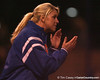 photo by Tim Casey<br /> <br /> Florida assistant coach Jenny Gladding applauds after a hit during the Gators' 3-0 win against the Baylor Bears on Friday, February 6, 2009 at Katie Seashole Pressly Softball Stadium in Gainesville, Fla.