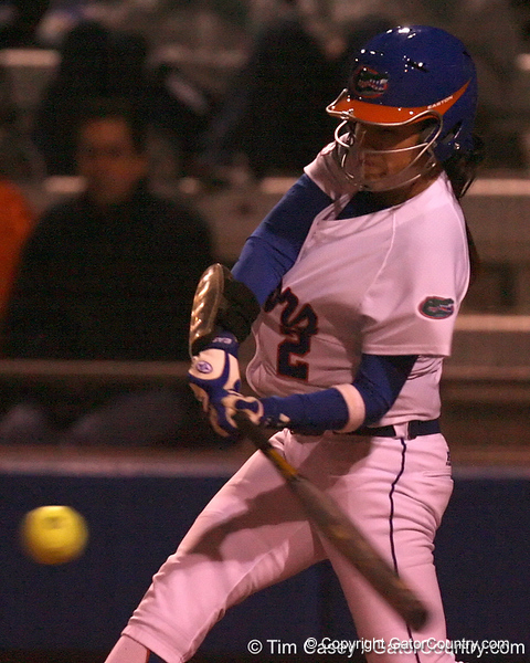 photo by Tim Casey<br /> <br /> Florida sophomore Kelsey Bruder hits a single during the sixth inning of the Gators' 3-0 win against the Baylor Bears on Friday, February 6, 2009 at Katie Seashole Pressly Softball Stadium in Gainesville, Fla.
