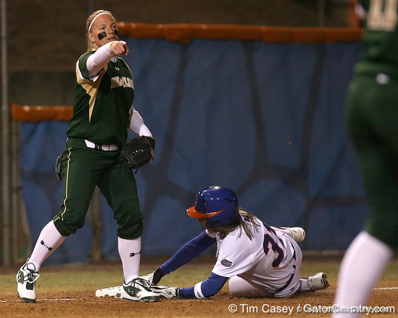photo by Tim Casey<br /> <br /> Florida senior Kristina Hilberth advances to third base on an error during the third inning of the Gators' 3-0 win against the Baylor Bears on Friday, February 6, 2009 at Katie Seashole Pressly Softball Stadium in Gainesville, Fla.