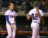 photo by Tim Casey<br /> <br /> Florida sophomore Corrie Brooks tosses the ball to Stacey Nelson during the Gators' 3-0 win against the Baylor Bears on Friday, February 6, 2009 at Katie Seashole Pressly Softball Stadium in Gainesville, Fla.
