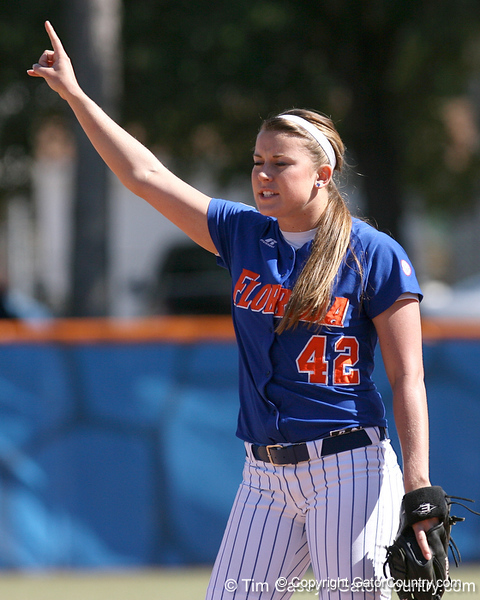 photo by Tim Casey<br /> <br /> Florida senior pitcher Stacey Nelson signals to her teammates during the fifth inning of the Gators' 1-0 loss to the Baylor Bears on Sunday, February 8, 2009 at Katie Seashole Pressly Softball Stadium in Gainesville, Fla.