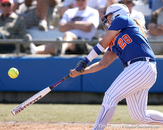 photo by Tim Casey<br /> <br /> Florida sophomore Tiffany DeFelice lines out to left field during the sixth inning of the Gators' 1-0 loss to the Baylor Bears on Sunday, February 8, 2009 at Katie Seashole Pressly Softball Stadium in Gainesville, Fla.