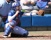 photo by Tim Casey<br /> <br /> Florida senior catcher Kristina Hilberth reaches for a foul ball during the second inning of the Gators' 1-0 loss to the Baylor Bears on Sunday, February 8, 2009 at Katie Seashole Pressly Softball Stadium in Gainesville, Fla.