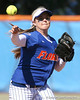 photo by Tim Casey<br /> <br /> Florida shortstop Megan Bush throws to first base for the final out of the seventh inning during the Gators' 1-0 loss to the Baylor Bears on Sunday, February 8, 2009 at Katie Seashole Pressly Softball Stadium in Gainesville, Fla.