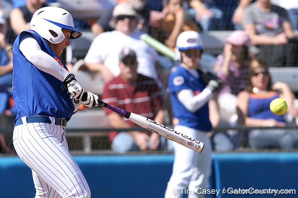 photo by Tim Casey<br /> <br /> Florida senior catcher Kristina Hilberth grounds out to third base during the second inning of the Gators' 1-0 loss to the Baylor Bears on Sunday, February 8, 2009 at Katie Seashole Pressly Softball Stadium in Gainesville, Fla.