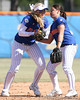 photo by Tim Casey<br /> <br /> Florida shortstop Megan Bush collides with Aja Paculba after picking up a misplayed ball that allowed a run to score during the fifth inning of the Gators' 1-0 loss to the Baylor Bears on Sunday, February 8, 2009 at Katie Seashole Pressly Softball Stadium in Gainesville, Fla.