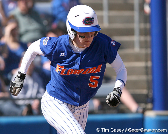 photo by Tim Casey<br /> <br /> Florida senior centerfielder Kim Waleszonia strikes out during the third inning of the Gators' 1-0 loss to the Baylor Bears on Sunday, February 8, 2009 at Katie Seashole Pressly Softball Stadium in Gainesville, Fla.