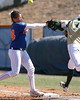 photo by Tim Casey<br /> <br /> Florida first baseman Ali Gardiner reaches for a throw that hit Baylor's Tiffany Wesley while she ran to first during the fifth inning of the Gators' 1-0 loss to the Bears on Sunday, February 8, 2009 at Katie Seashole Pressly Softball Stadium in Gainesville, Fla.