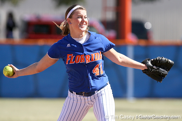 photo by Tim Casey<br /> <br /> Florida senior pitcher Stacey Nelson delivers a pitch during the fifth inning of the Gators' 1-0 loss to the Baylor Bears on Sunday, February 8, 2009 at Katie Seashole Pressly Softball Stadium in Gainesville, Fla.