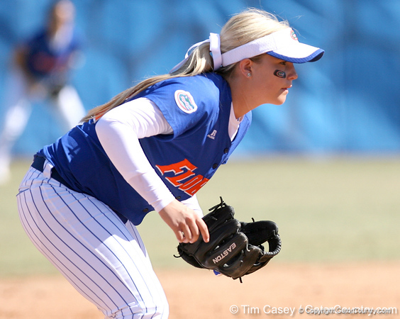 photo by Tim Casey<br /> <br /> Florida sophomore shortstop Megan Bush gets in position during the sixth inning of the Gators' 1-0 loss to the Baylor Bears on Sunday, February 8, 2009 at Katie Seashole Pressly Softball Stadium in Gainesville, Fla.