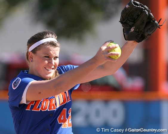 photo by Tim Casey<br /> <br /> Florida senior pitcher Stacey Nelson winds up during the fifth inning of the Gators' 1-0 loss to the Baylor Bears on Sunday, February 8, 2009 at Katie Seashole Pressly Softball Stadium in Gainesville, Fla.
