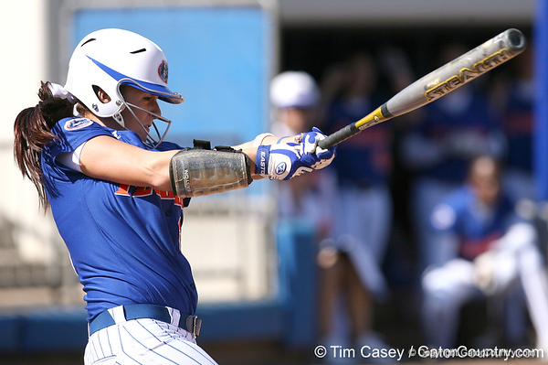photo by Tim Casey<br /> <br /> Florida sophomore Kelsey Bruder strikes out swinging during the seventh inning of the Gators' 1-0 loss to the Baylor Bears on Sunday, February 8, 2009 at Katie Seashole Pressly Softball Stadium in Gainesville, Fla.