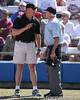 photo by Tim Casey<br /> <br /> Baylor coach Glenn Moore argues with home plate umpire Darrell Hullinger during the fifth inning of the Gators' 1-0 loss to the Bears on Sunday, February 8, 2009 at Katie Seashole Pressly Softball Stadium in Gainesville, Fla.