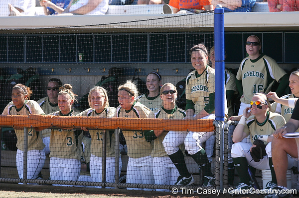 photo by Tim Casey<br /> <br /> Baylor players cheer during the fifth inning of the Gators' 1-0 loss to the Bears on Sunday, February 8, 2009 at Katie Seashole Pressly Softball Stadium in Gainesville, Fla.