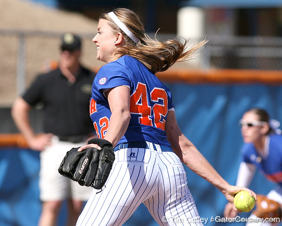 photo by Tim Casey<br /> <br /> Florida senior pitcher Stacey Nelson winds up during the third inning of the Gators' 1-0 loss to the Baylor Bears on Sunday, February 8, 2009 at Katie Seashole Pressly Softball Stadium in Gainesville, Fla.