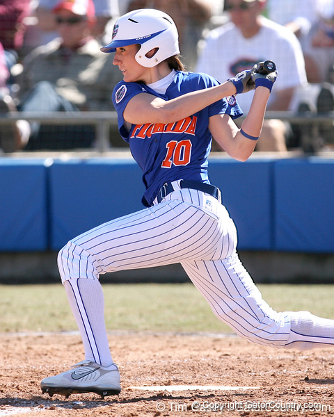 photo by Tim Casey<br /> <br /> Florida junior left fielder Francesca Enea hits a single to center field during the sixth inning of the Gators' 1-0 loss to the Baylor Bears on Sunday, February 8, 2009 at Katie Seashole Pressly Softball Stadium in Gainesville, Fla.