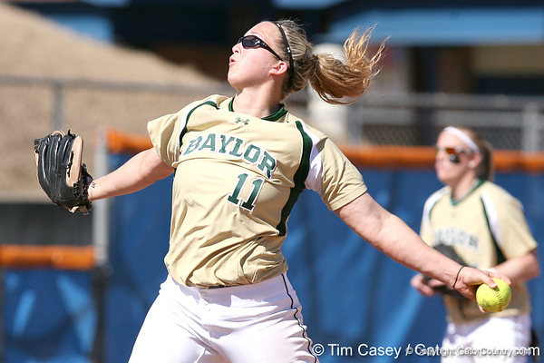 photo by Tim Casey<br /> <br /> Baylor freshman Whitney Canion winds up during the third inning of the Gators' 1-0 loss to the Bears on Sunday, February 8, 2009 at Katie Seashole Pressly Softball Stadium in Gainesville, Fla.