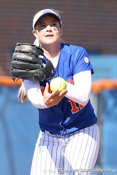 photo by Tim Casey<br /> <br /> Florida sophomore shortstop Megan Bush lobs the ball to Aja Paculba during the second inning of the Gators' 1-0 loss to the Baylor Bears on Sunday, February 8, 2009 at Katie Seashole Pressly Softball Stadium in Gainesville, Fla.