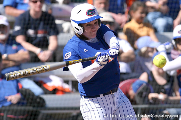 photo by Tim Casey<br /> <br /> Florida junior third baseman Corrie Brooks strikes out during the second inning of the Gators' 1-0 loss to the Baylor Bears on Sunday, February 8, 2009 at Katie Seashole Pressly Softball Stadium in Gainesville, Fla.