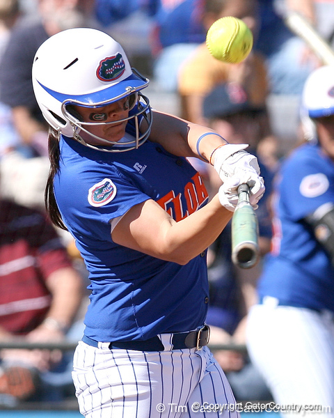 photo by Tim Casey<br /> <br /> Florida sophomore second baseman Aja Paculba flies out to second base during the third inning of the Gators' 1-0 loss to the Baylor Bears on Sunday, February 8, 2009 at Katie Seashole Pressly Softball Stadium in Gainesville, Fla.