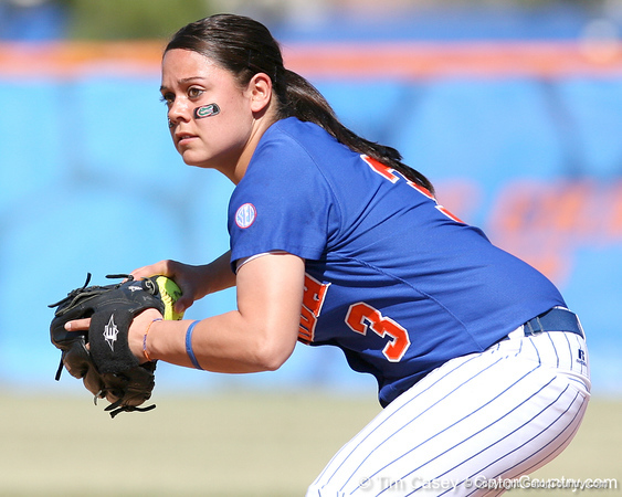 photo by Tim Casey<br /> <br /> Florida sophomore second baseman Aja Paculba throws out a runner to end the second inning of the Gators' 1-0 loss to the Baylor Bears on Sunday, February 8, 2009 at Katie Seashole Pressly Softball Stadium in Gainesville, Fla.