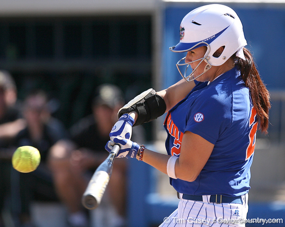 photo by Tim Casey<br /> <br /> Florida sophomore Kelsey Bruder fouls out to first base during the Gators' 1-0 loss to the Baylor Bears on Sunday, February 8, 2009 at Katie Seashole Pressly Softball Stadium in Gainesville, Fla.