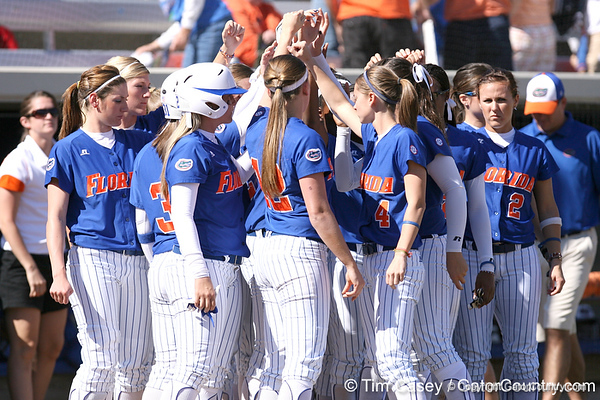 photo by Tim Casey<br /> <br /> Florida players huddle after the Gators' 1-0 loss to the Baylor Bears on Sunday, February 8, 2009 at Katie Seashole Pressly Softball Stadium in Gainesville, Fla.