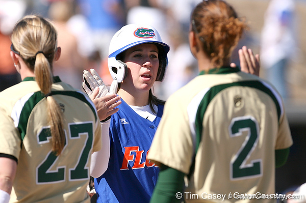 photo by Tim Casey<br /> <br /> Florida senior catcher Kristina Hilberth shakes hands with opponents after the Gators' 1-0 loss to the Baylor Bears on Sunday, February 8, 2009 at Katie Seashole Pressly Softball Stadium in Gainesville, Fla.