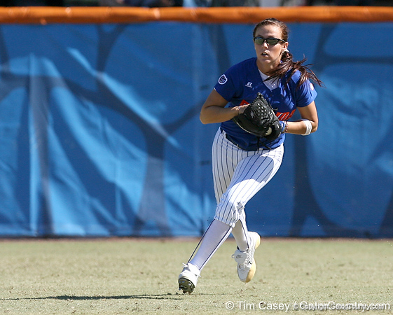 photo by Tim Casey<br /> <br /> Florida sophomore Kelsey Bruder returns an errant throw to the infield during the fifth inning of the Gators' 1-0 loss to the Baylor Bears on Sunday, February 8, 2009 at Katie Seashole Pressly Softball Stadium in Gainesville, Fla.