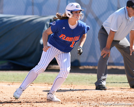 photo by Tim Casey<br /> <br /> Florida senior Brooke Johnson takes a lead from first base during the sixth inning of the Gators' 1-0 loss to the Baylor Bears on Sunday, February 8, 2009 at Katie Seashole Pressly Softball Stadium in Gainesville, Fla.